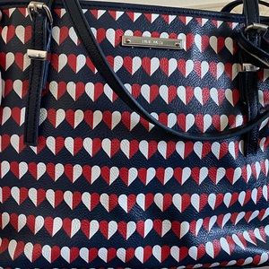 Nine West purse-red blue And white heart detail